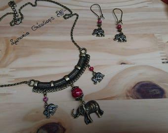 Finery ethnic elephants and Burgundy beads