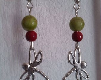 Red and green Dragonfly earrings