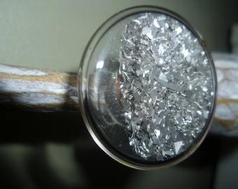 Cabochon glass fun silver glitter