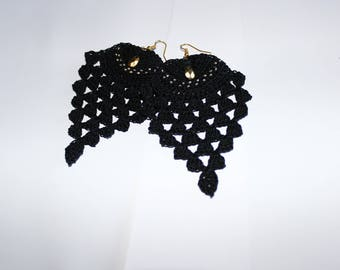 """Earrings crochet spirit """"Pineapple"""" (gold and black) (18K)"""