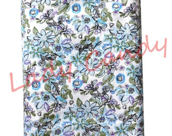50 x 45 cm Blue floral fabric / Cotton / sewing Patchwork making garment #7322
