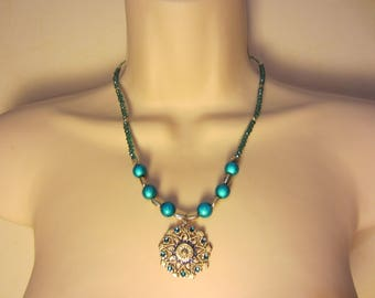 Necklace turquoise blue and silver