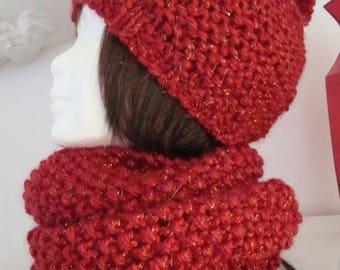Hat with red pompon Carmine, soft yarn, shiny, very warm, skiing, winter