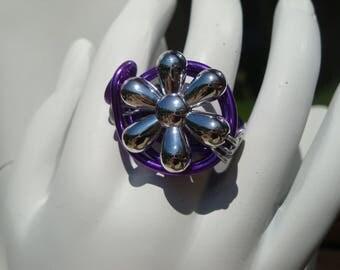 Shiny Silver Flower ring, purple, adjustable aluminum wire, wedding