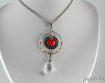 Swarovski pendant necklace 'Loumi' red seed beads
