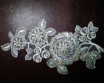 applique for sew white fine embroidery, beads and sequins