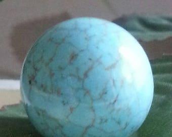 22 mm no hole, round turquoise gemstone beads