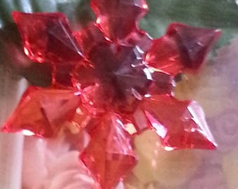 large acrylic transparent, faceted, snowflake neigel, mixed color, 45 x 9 mm, hole: 2 mm