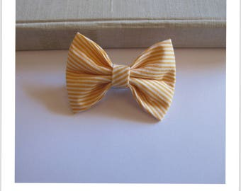 "hair bow ""clip - me"" yellow and white stripe"