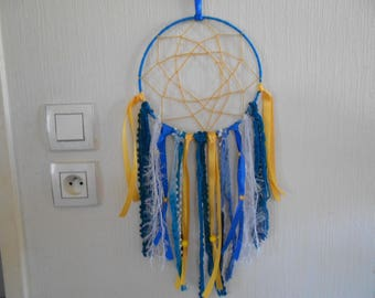 dream catcher dreamcatcher blue and yellow, cotton, wool, ribbons, feathers, pearls, ESTEBAN