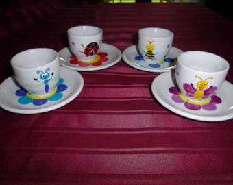 """4 """"enchanted"""" painted white porcelain espresso cups"""