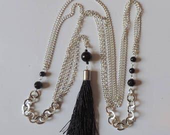 Lariat chain with black onyx bead