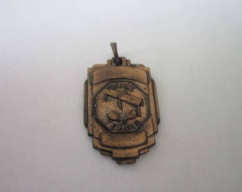 C 1920 Antique Table Tennis Bronze Charm or Necklace Pendant