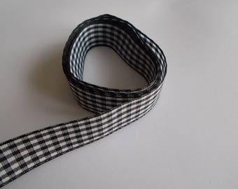 1 m of black and white gingham Ribbon