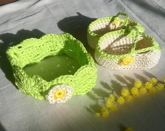 Daisy and mimosa set headband and booties