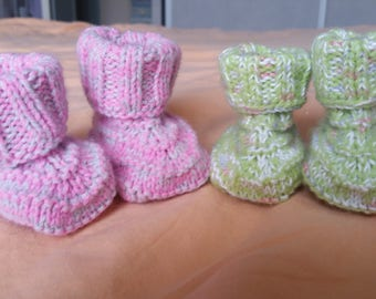 Set of 2 pairs of handmade baby booties