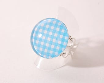 Ring blue and white gingham, filigree Adjustable ring
