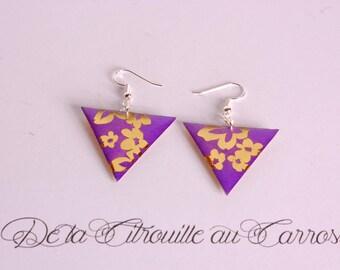 Purple triangle, Gold Flower Earrings