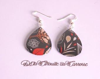Earrings leaves, black, red and beige