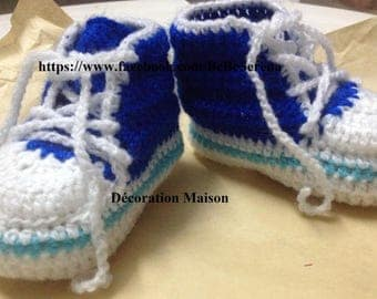 baby shoes sport the shade of blue crochet