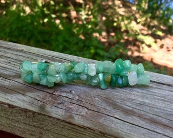 Green Stone Hair Barrette