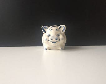 Russian Gzhel pig figurine. Handmade blue and white figurine. Vintage statuette from 1970s
