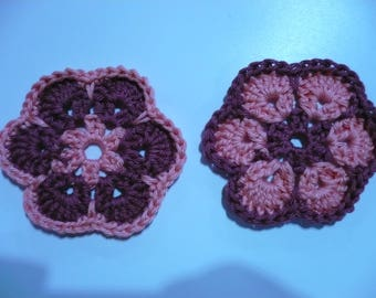 set of 2 crochet flowers, pink and dusty pink