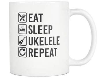 Ukelele Mug ,Ukelele Gift, Eat Sleep Repeat Coffee Tea Cup