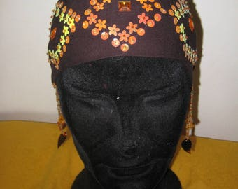 04-turban headband with Brown Pearl Earrings
