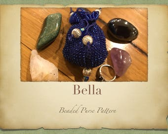 Bella Hanging Beaded Purse PATTERN ONLY Knitted Minature Bag for Tooth Fairy Crystals Jewlery or a Perfume Pouch