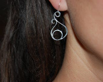 circle and patinated Sterling Silver earrings