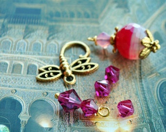 Spinning swarovski Fuchsia brass Dragonfly charm pendant gold and fuchsia agate