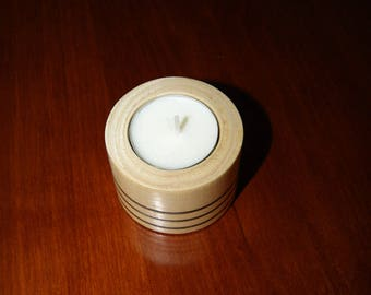 Been hand-turned tealight candle holder in the Languedoc white wood