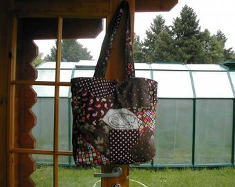 Cloth cotton handbag in Crazy method looking like the patchwork
