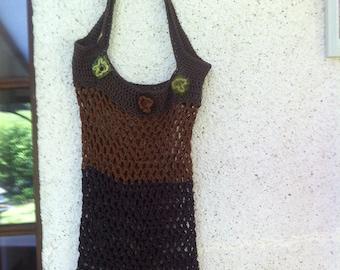 Filet crochet brown tones