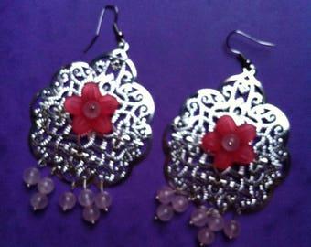 pair of earrings silver print