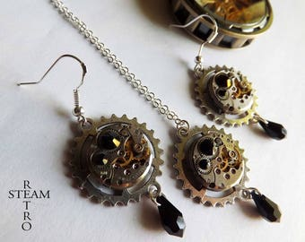 Vintage watch movement black necklace and earrings Swarovski Steampunk - Steampunk jewelry set - personalized