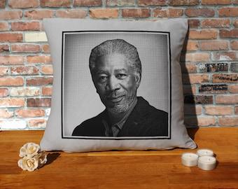 Morgan Freeman Pillow Cushion - 16x16in - Grey
