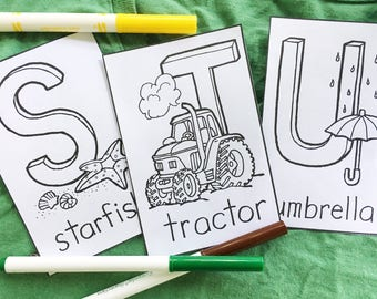 Alphabet Umbrella Printable Abc Coloring Pages For Kids Page Educations