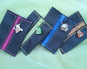 Kids purse, black faux leather, different designs to choose from