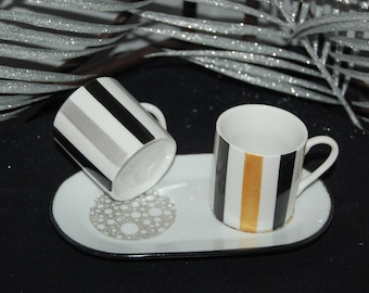 Pair of cups demitasse Symphony gold, silver and black