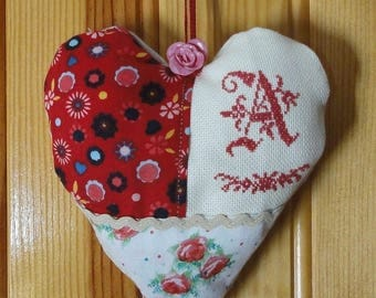 Door with A cross stitch embroidery Monogram shabby heart cushion