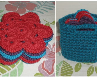 Set of 6 coasters and their storage basket crochet