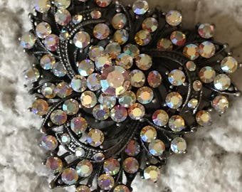 Vintage Broach Irridescent Stones