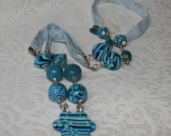 Liberty Necklace blue polymer beads. -various colors