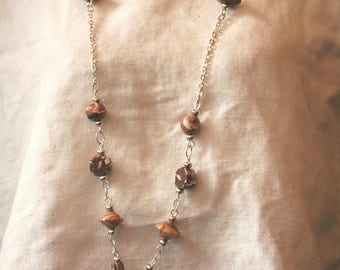 Necklace beads beige Brown and white.