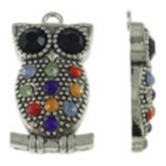 """1 large charm """"OWL"""" silver plated with Rhinestones size 19.5x34.5 mm"""