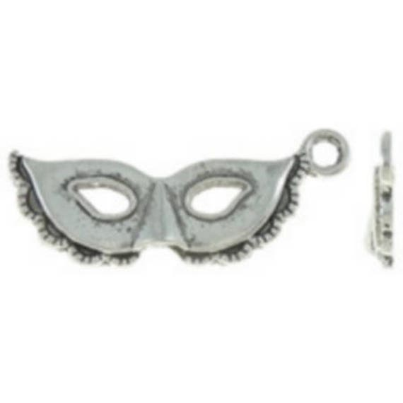 """Set of 5 charms """"Venetian mask"""" silver color size 13 x 31 mm"""