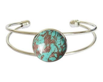 Silver plated - turquoise cabochon bracelet