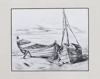 Lonely boats etched print